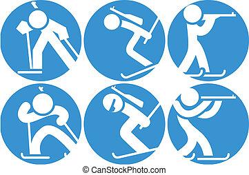 Biathlon icons set