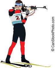 Biathlon runner colored silhouettes. Vector illustration