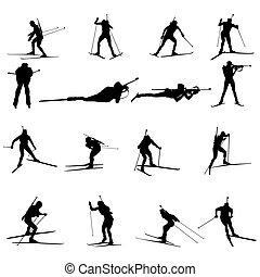 Set of biathlon sportman silhouettes. Vector illustration.