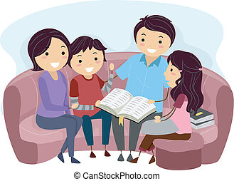 Illustration of a Family Studying the Bible Together