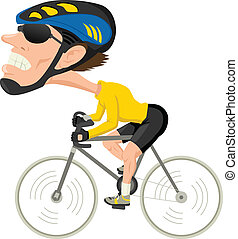 Caricature illustration of a bicycle athlete
