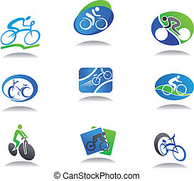 Set of bicycle sport icons for design