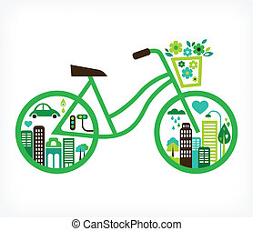 bicycle with green city - environment and ecology