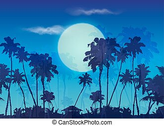 Big blue moon twilight with dark palms silhouettes, vector landscape background