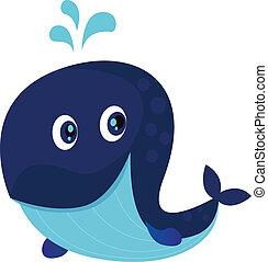 Vector Illustration of happy cartoon ocean whale with water splash.