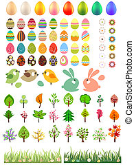 Big collection of easter eggs, trees, animals and flowers
