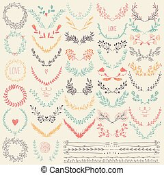 Hand drawn floral set. Pastel backdrop. Illustration vector.