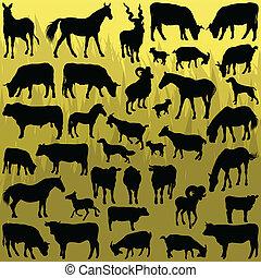 Big farm animals detailed silhouettes illustration vector
