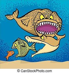Big fish eats small cartoon illustration.