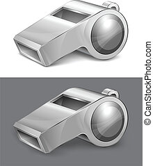 big gray whistle isolated on white background vector illustration