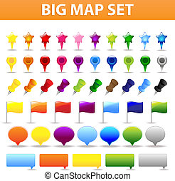 Big Map And GPS Navigation Elements For Your Web Projects, Isolated On White Background, Vector Illustration