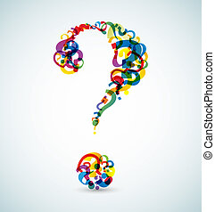 Big question mark made from smaller question marks (rainbow colors)