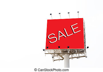 Big red billboard with word sale