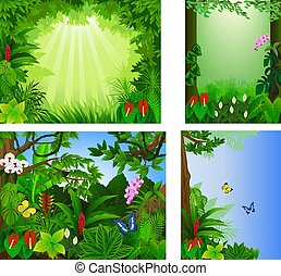 Big set icon frame beautiful tropical forest vector illustration