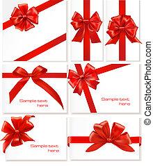 Big set of gift bows with ribbons. Vector.