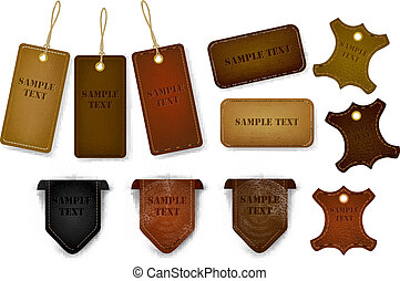 Big set of leather labels and tags.