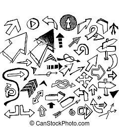 Big set of various black doodle arrows on white background