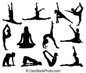 Big set of yoga silhouettes, vector