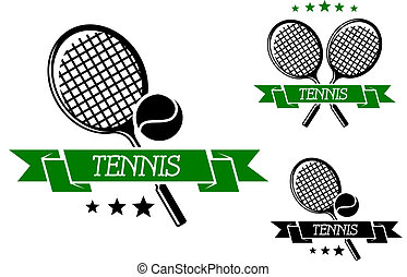 Big tennis sporting emblem with rackets, ball and green ribbon isolated on white, for sports club, tournament or logo design