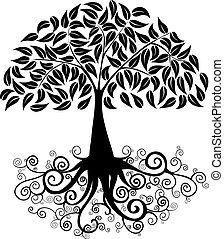 Black Tree curly roots silhouette isolated. Vector file layered for easy manipulation and custom coloring.
