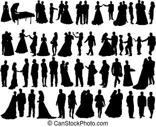 Big vector collection of wedding silhouettes isolated on white