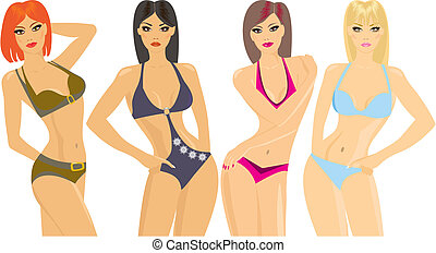 Bikini Girls with different color hair and skin