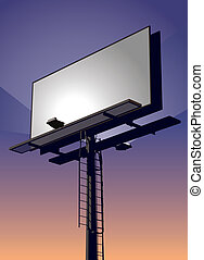 Roadside billboard sign at sunset with blank front for your message.