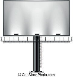 detailed illustration of a black advertising sign isolated on white, eps10 vector