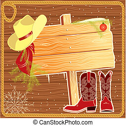 Billboard frame with cowboy hat. Vector christmas background