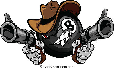 Cartoon image of a Billiards Eightball with a face and cowboy hat holding and aiming guns