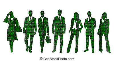 Concept illustration about information technology business people represented by a group of business people silhouettes made out of digits