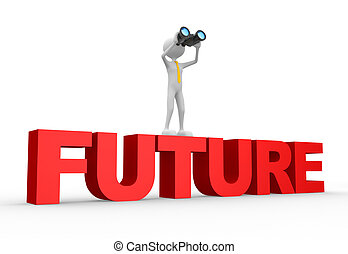 3d people - man, person with a binocular and word FUTURE. Future concept.