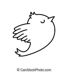 Bird icon black line on the white background.