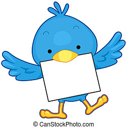 A Flying Little Blue Bird Carrying a Piece of Paper With its Beak