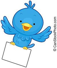 A Little Blue Bird Flying While Clutching a Piece of Paper With its Feet
