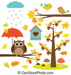 Birds, trees and owl. Autumnal set of vector elements