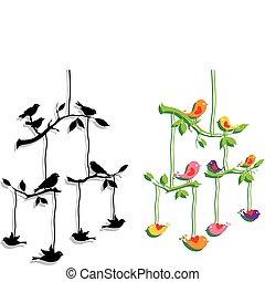 birds with tree branch, vector