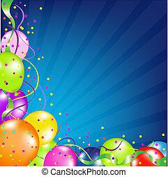Birthday Background With Balloons And Sunburst, Vector Illustration