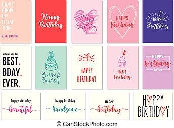 Birthday cards, vector set