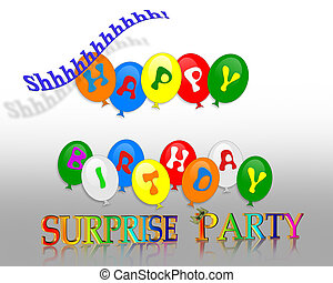 Illustration of colorful balloons and 3D text for surprise birthday party invitation