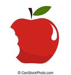Red bitten apple over white. Vector illustration