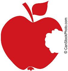 Bitten Apple Red Silhouette