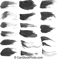 Black abstract wet paint strokes set on white