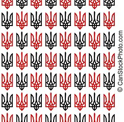 Seamless pattern of the black and red coat of arms of Ukraine