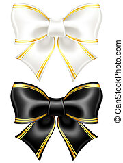 Vector illustration - black and white bows with golden edging. EPS 10, RGB. Created with gradient mesh.