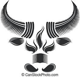 black and white bull head pattern design.