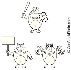 Black And White Bulldog Cartoon Mascot Character Set 1. Vector Collection