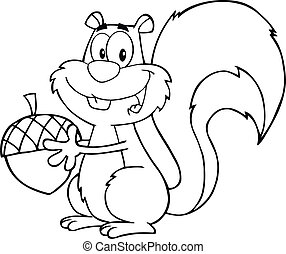 Black And White Cute Squirrel Cartoon Mascot Character Holding A Acorn