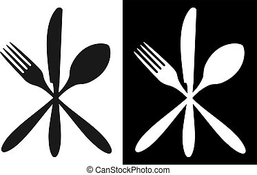 Cutlery icons. Fork, knife and spoon silhouettes on black and white backgrounds. Vector available.