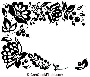 black-and-white flowers and leaves. Floral design element in retro style